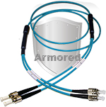 ST to FC Stainless Steel Armored Fiber Optic Patch Cable (Plenum Rated) 50/125 OM4 - 10/40/100 GIG Multimode - USA CustomLine by QuickTreX®