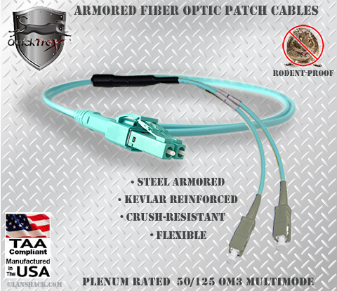LC Uniboot to SC Stainless Steel Armored Fiber Optic Patch Cable (Plenum Rated) 50/125 OM3 - 10 GIG Multimode - USA CustomLine by QuickTreX®
