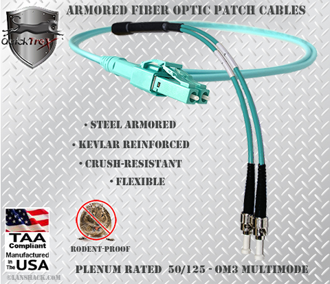 LC Uniboot to ST Stainless Steel Armored Fiber Optic Patch Cable (Plenum Rated) 50/125 OM3 - 10 GIG Multimode - USA CustomLine by QuickTreX®