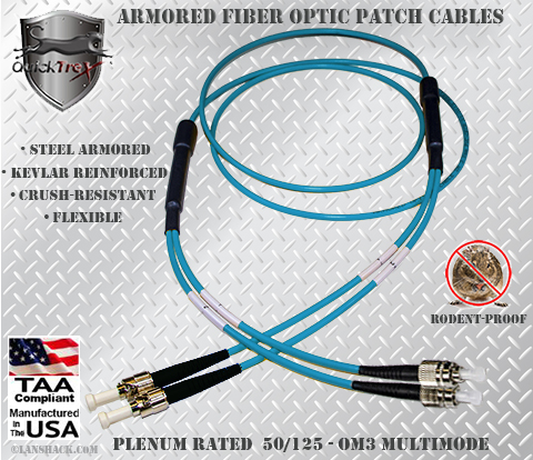 ST to FC Stainless Steel Armored Fiber Optic Patch Cable (Plenum Rated) 50/125 OM3 - 10 GIG Multimode - USA CustomLine by QuickTreX®