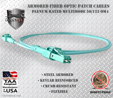 Indoor Rugged Stainless Steel Armored (Plenum) 50/125 OM4 Multimode Patch Cable - USA CustomLine by QuickTreX®