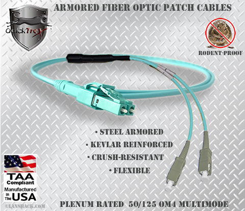 LC Uniboot to SC Stainless Steel Armored Fiber Optic Patch Cable (Plenum Rated) 50/125 OM4 - 10/40/100 GIG Multimode - USA CustomLine by QuickTreX®