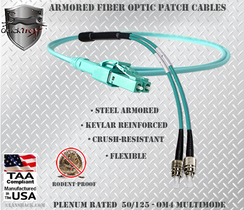 LC Uniboot to FC Stainless Steel Armored Fiber Optic Patch Cable (Plenum Rated) 50/125 OM4 - 10/40/100 GIG Multimode - USA CustomLine by QuickTreX®