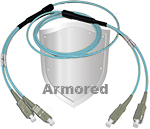 SC to SC Stainless Steel Armored Fiber Optic Patch Cable (Plenum Rated) 50/125 OM3 - 10 GIG Multimode - USA CustomLine by QuickTreX®