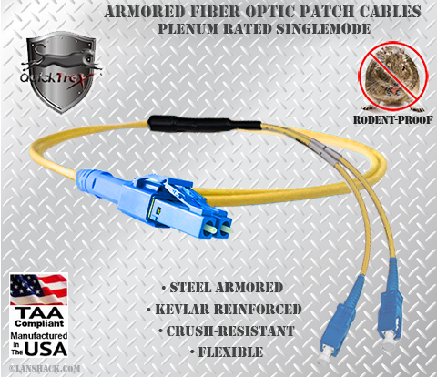 LC Uniboot to SC Stainless Steel Armored Fiber Optic Patch Cable (Plenum Rated) Singlemode - USA CustomLine by QuickTreX®
