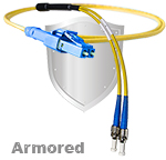 LC Uniboot to ST Stainless Steel Armored Fiber Optic Patch Cable (Plenum Rated) Singlemode - USA CustomLine by QuickTreX®
