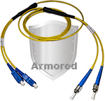 SC to ST Stainless Steel Armored Fiber Optic Patch Cable (Plenum Rated) Singlemode - USA CustomLine by QuickTreX®