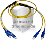 SC to SC Stainless Steel Armored Fiber Optic Patch Cable (Plenum Rated) Singlemode - USA CustomLine by QuickTreX®