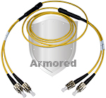 FC to FC Stainless Steel Armored Fiber Optic Patch Cable (Plenum Rated) Singlemode - USA CustomLine by QuickTreX®
