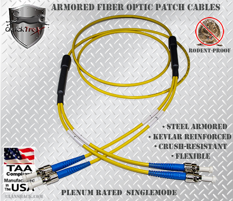 ST to ST Stainless Steel Armored Fiber Optic Patch Cable (Plenum Rated) Singlemode - USA CustomLine by QuickTreX®