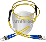ST to FC Stainless Steel Armored Fiber Optic Patch Cable (Plenum Rated) Singlemode - USA CustomLine by QuickTreX®