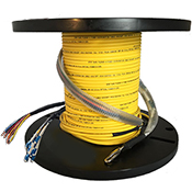 6 Strand Indoor/Outdoor Plenum 10-GIG 50/125 OM3 Multimode Pre-Terminated Hybrid PowerFiber Assembly with 6 x 16 AWG Power Wires by QuickTreX®