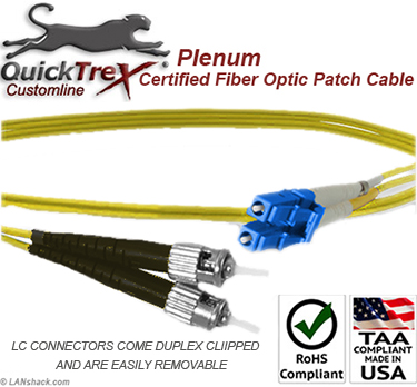 9 meter LC to ST, 9/125, Singlemode Duplex Patch Cable - Plenum Rated - USA CustomLine by QuickTreX®