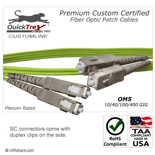 2 Meter SC to SC OM5 (50/125) - 10/40/100/400 GIG Multimode Duplex Patch Cable - Plenum Rated - USA CustomLine by QuickTreX®