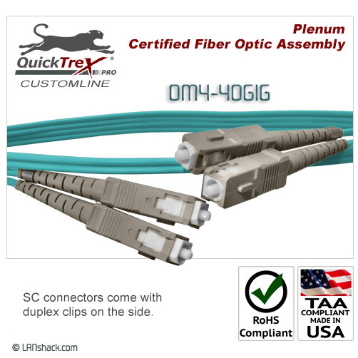 20 Meter SC to SC, OM4, 40 GIG Multimode Duplex Patch Cable - Plenum Rated - USA CustomLine by QuickTreX®