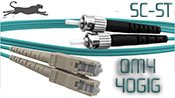 2 Meter SC to ST, OM4, 40 GIG Multimode Duplex Patch Cable - Plenum Rated - USA CustomLine by QuickTreX®