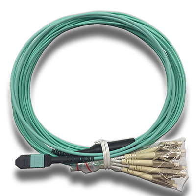 Stock 2 Meter Male MTP/MPO to 12LC OM3 10-Gig 12 Fiber Fanout Cable