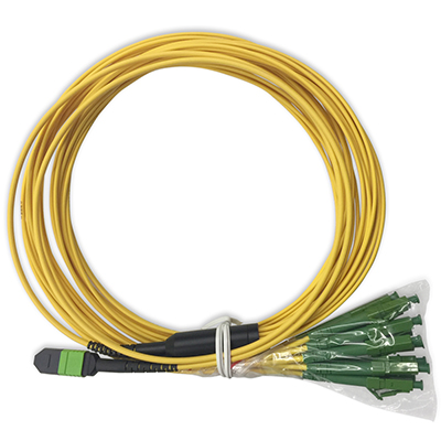 Stock 2 Meter Male MTP/MPO to 12LC Singlemode 12 Fiber Fanout Cable