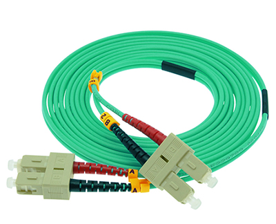 Stock 1 meter SC to SC 50/125 OM3, 10 GIG Multimode Duplex Patch Cable