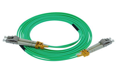 Stock 4 meter LC to LC 50/125 OM4, 10/40/100 GIG Multimode Duplex Patch Cable - Aqua