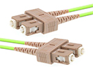 Stock 2 meter SC to SC 50/125 OM5, 40/100 GIG Multimode Duplex Patch Cable - Lime Green