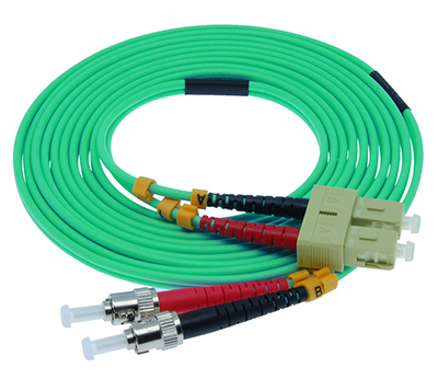 Stock 10 meter SC to ST 50/125 OM3, 10 GIG Multimode Duplex Patch Cable