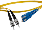 2 meter ST to SC, 9/125, Singlemode Duplex Patch Cable - Plenum Rated - USA CustomLine by QuickTreX®