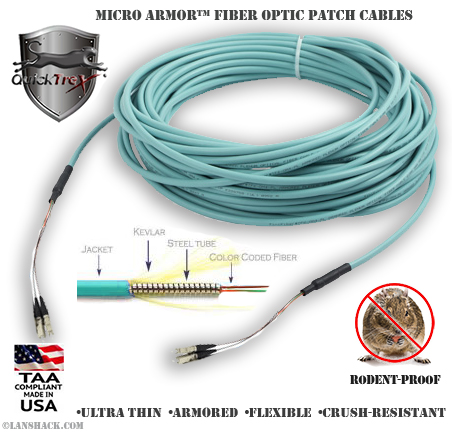 Indoor Rugged Stainless Steel Armored (Plenum) 50/125 OM3 Multimode Patch Cable - USA CustomLine by QuickTreX®