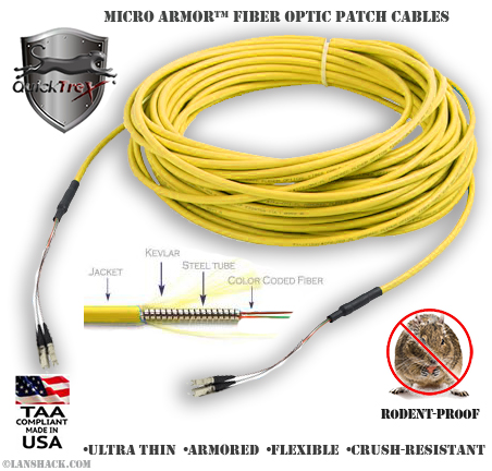 Indoor Rugged Stainless Steel Armored (Plenum) Singlemode Patch Cable - USA CustomLine by QuickTreX®
