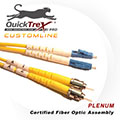 20 meter LC to ST, 9/125, Singlemode Duplex Patch Cable - Plenum Rated - USA CustomLine by QuickTreX®