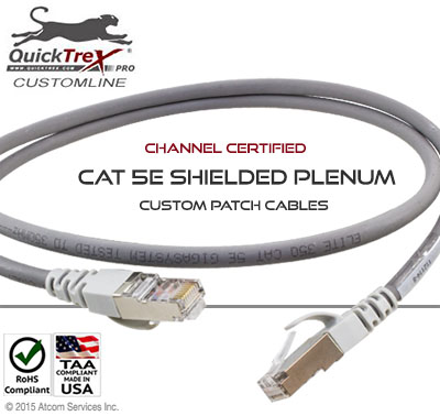 120 Ft Cat 5E Shielded Plenum Custom Patch Cable