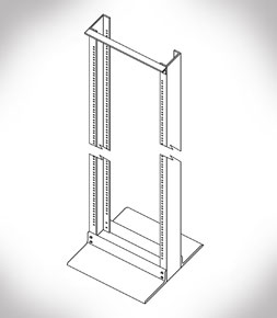 7 Foot 19in Aluminum Finish Relay Rack