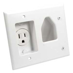 Recessed Low Voltage Wall Plate with Recessed Power Receptacle