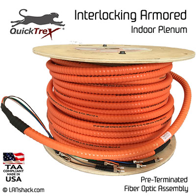 12 Strand Indoor Plenum 62.5/125 OM1 Multimode Interlock Armor Cable
