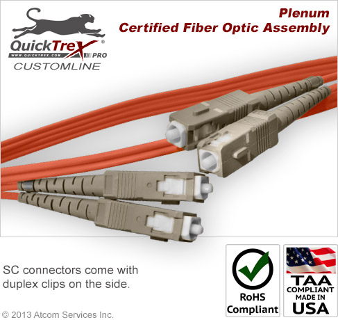 6 meter (19.69 ft) SC to SC, 50/125 OM2, Multimode Duplex Patch Cable - Plenum Rated - USA CustomLine by QuickTreX®