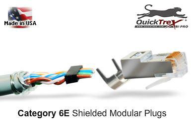 Installing cat 6e and cat 5e shielded modular plugs using the quicktrex category 6e 5e shielded modular plugs w loadbar bag of 50 publicscrutiny Images